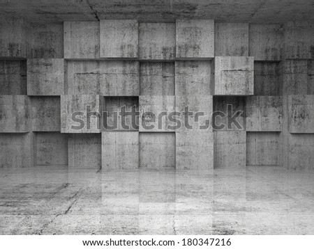 Abstract empty concrete interior with decoration cubes on the wall - stock photo