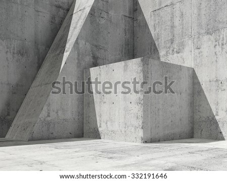 Abstract empty concrete interior with geometric shapes, square 3d render illustration, modern architecture background