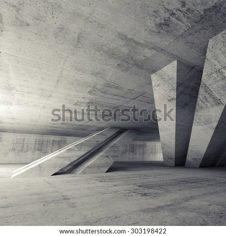 Abstract empty concrete room interior with inclined columns and window, square 3d render illustration - stock photo