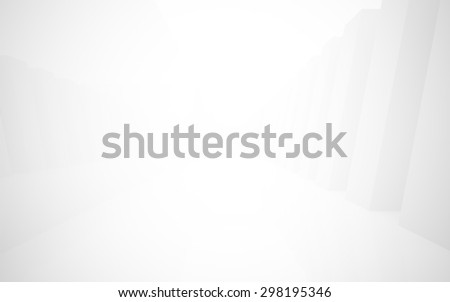 Abstract empty 3d interior background, white corridor perspective. 3D rendering  - stock photo