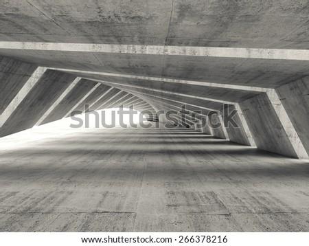 Abstract empty illuminated bent concrete corridor interior, 3d render illustration - stock photo