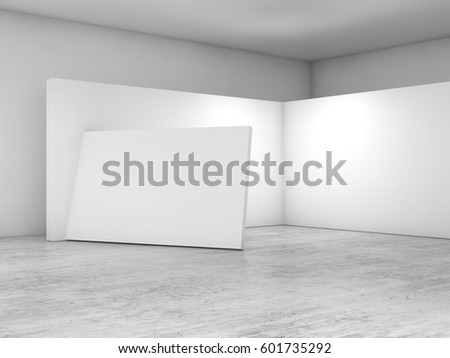 Abstract empty interior, white walls on concrete floor, contemporary architecture design. 3d render illustration