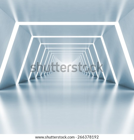 Abstract empty light blue shining corridor interior with illumination, 3d render illustration - stock photo