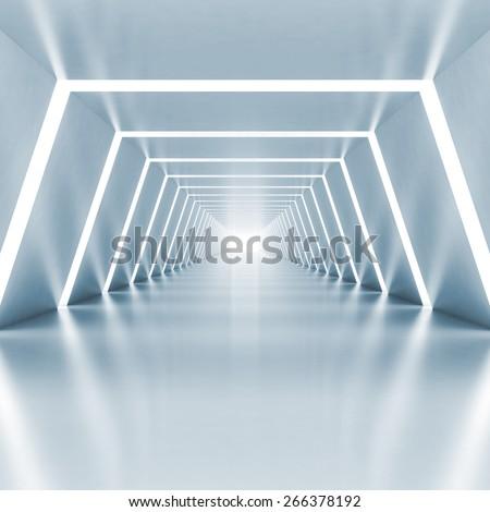 Abstract empty light blue shining corridor interior with illumination, 3d render illustration - stock photo