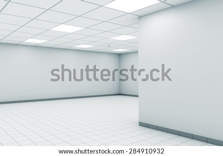 Abstract empty office room interior with white walls, square ceiling lights and floor tiling, 3d illustration - stock photo