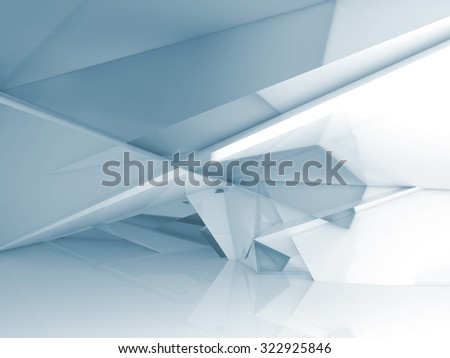 Abstract empty room interior with chaotic polygonal crystal structure, Blue toned 3d illustration, digital background  - stock photo