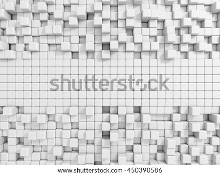 Abstract Empty White Cubes Wall Background. 3d Render Illustration