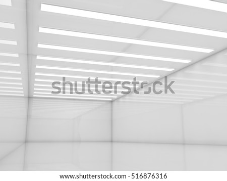 Abstract empty white interior background with stripes of decorative ceiling lights, contemporary minimal open space design template, 3d illustration