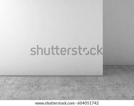 Abstract empty white interior, blank wall on concrete floor, contemporary architecture design. 3d illustration, front view