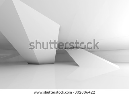 Abstract empty white room interior with inclined columns and soft shadows, 3d render illustration - stock photo