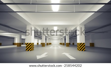 Abstract empty white underground parking interior. 3d illustration - stock photo