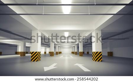 Abstract empty white underground parking interior. 3d illustration - stock photo