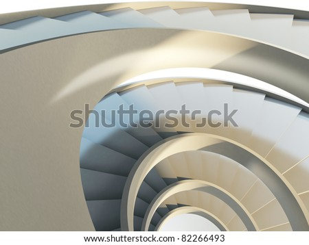 Abstract endless spiral staircase