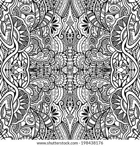 Abstract ethnic decoration, retro floral and geometric ornament, seamless lace pattern, hand drawn artwork, raster version - stock photo