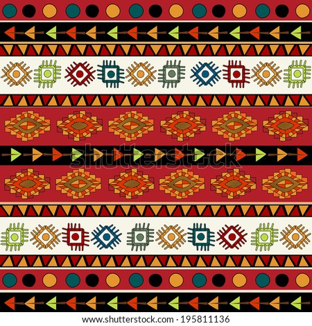 Abstract Ethnic pattern in vivid colors. Fancy multicolored background ornament.