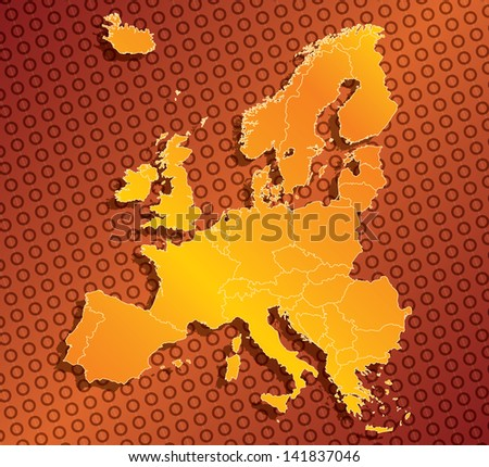 Abstract Europe EU map with country borders - stock photo