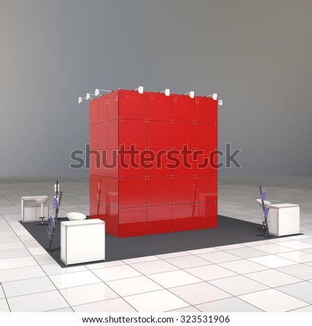 abstract exhibition booth with blank red wall and counters - stock photo