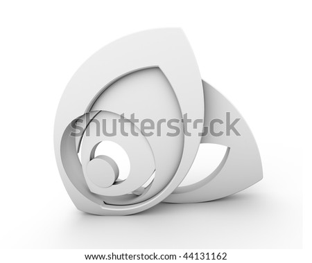 Abstract eye shaped form on white - stock photo