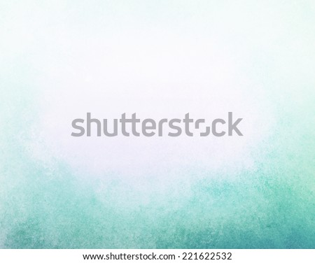 abstract faded blue background, gradient white into blue color, foggy top border and darker teal blue grunge texture bottom border - stock photo