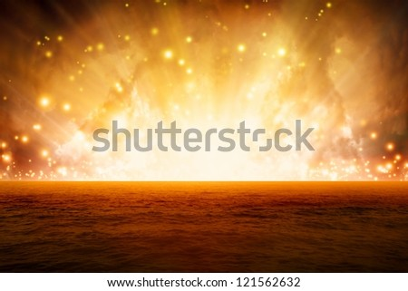 Abstract fantastic background, exploding red sea, end of world - stock photo