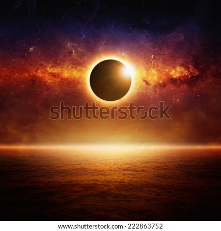 Abstract fantastic background - full sun eclipse, glowing horizon above red ocean, end of world. Elements of this image furnished by NASA - stock photo