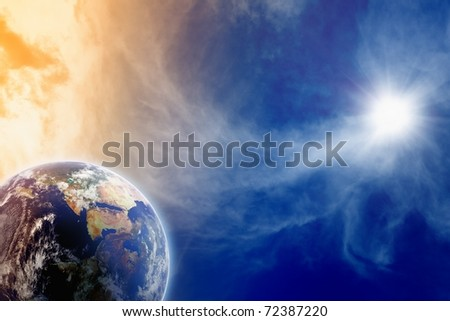 Abstract fantastic background of planet Earth in blue space