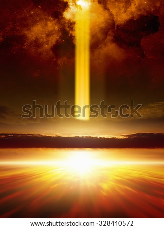 Abstract fantastic background - powerful glowing ray from space hits planet Earth, end of world, aliens invasion. Elements of this image furnished by NASA nasa.gov - stock photo
