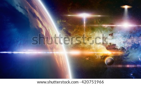 Abstract fantastic background - UFO approaches at planet Earth, glowing galaxy, bright lens flare. Elements of this image furnished by NASA - stock photo