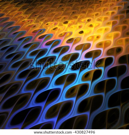 Abstract fantasy blurred waves on black background. Creative fractal design in yellow and blue colors. - stock photo
