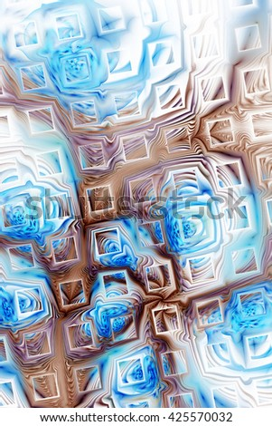 Abstract fantasy color splashes on white background. Creative brown and blue fractal design for greeting cards or t-shirts. - stock photo