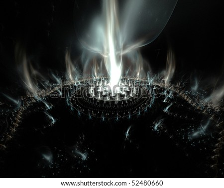 Abstract fantasy fractal flame background - stock photo