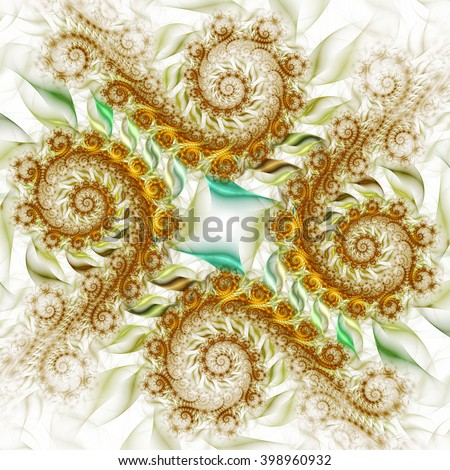 Abstract fantasy green and brown spiral ornament on white background. Creative fractal design for greeting cards or t-shirts. - stock photo