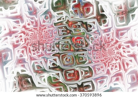 Abstract fantasy ornament on white background. Colorful fractal design in red, pink, green and blue colors. - stock photo