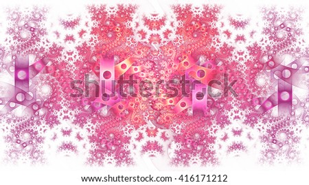 Abstract fantasy pink and violet spiral ornament on white background. Symmetrical pattern. Creative fractal design for greeting cards or t-shirts. - stock photo