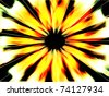Abstract fiery sunburst fractal with black hole in center - stock photo