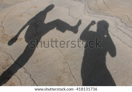 Abstract fighters fighting in silhouette pattern, - stock photo