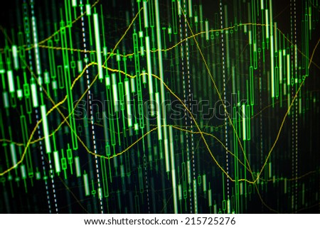 Abstract financial background with chart and graph on green color. Company share price information. Stock price action illustrated on professional trader monitor screen. - stock photo
