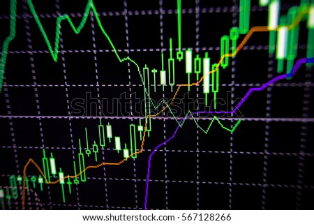 Abstract financial trading graphs on monitor. Background with currency bars and candles