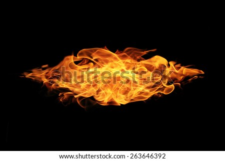 abstract Fire flames on black background - stock photo