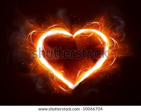 abstract fire heart - stock photo