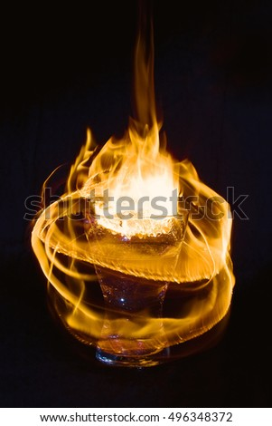 Abstract fire texture. Motion flame. Hot drink.