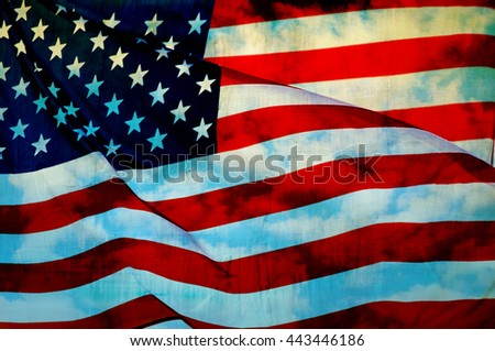 Abstract flag of the USA waving, American flag background - stock photo