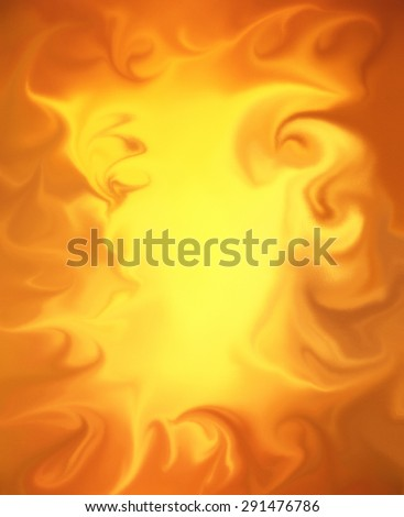 abstract flames background, brilliant fiery orange and yellow smeared paint in abstract fire border pattern, smoke curls and wisps of smoke - stock photo