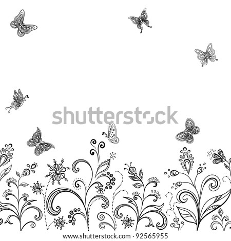 Abstract floral background, symbolical flowers and butterflies, contours on white - stock photo