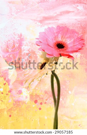 Abstract floral background with daisy flower - stock photo
