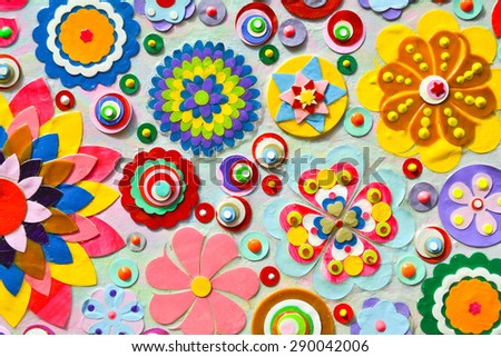 Abstract floral background with random flower pattern. Painting.