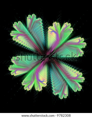 Abstract floral design. Alike clover. Created from dots.
