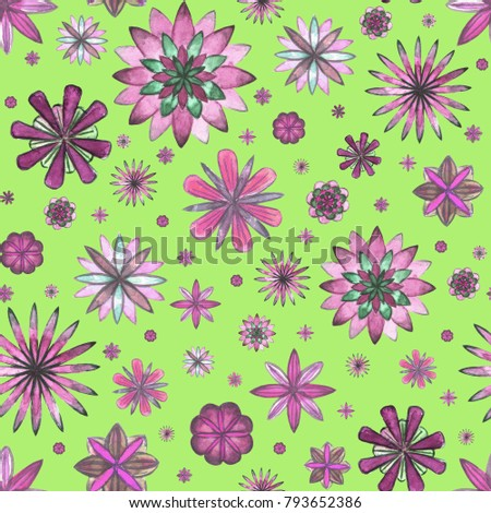 Abstract Floral Ethnic Boho Seamless Pattern Watercolor Hand Drawn Pink Magenta Purple Flowers On Grass