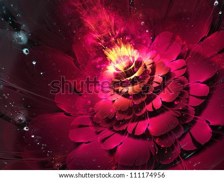 abstract floral fractal background  for art projects - stock photo