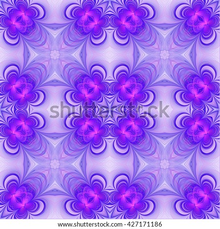 Abstract floral fractal design. Abstract texture. Kaleidoscope effect. Seamless pattern. - stock photo